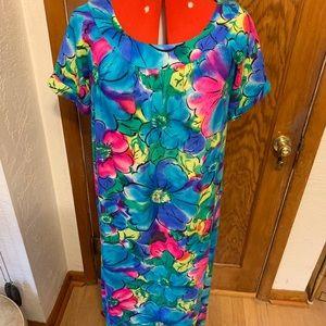 Vintage psychedelic rainbow Hawaiian muu muu dress